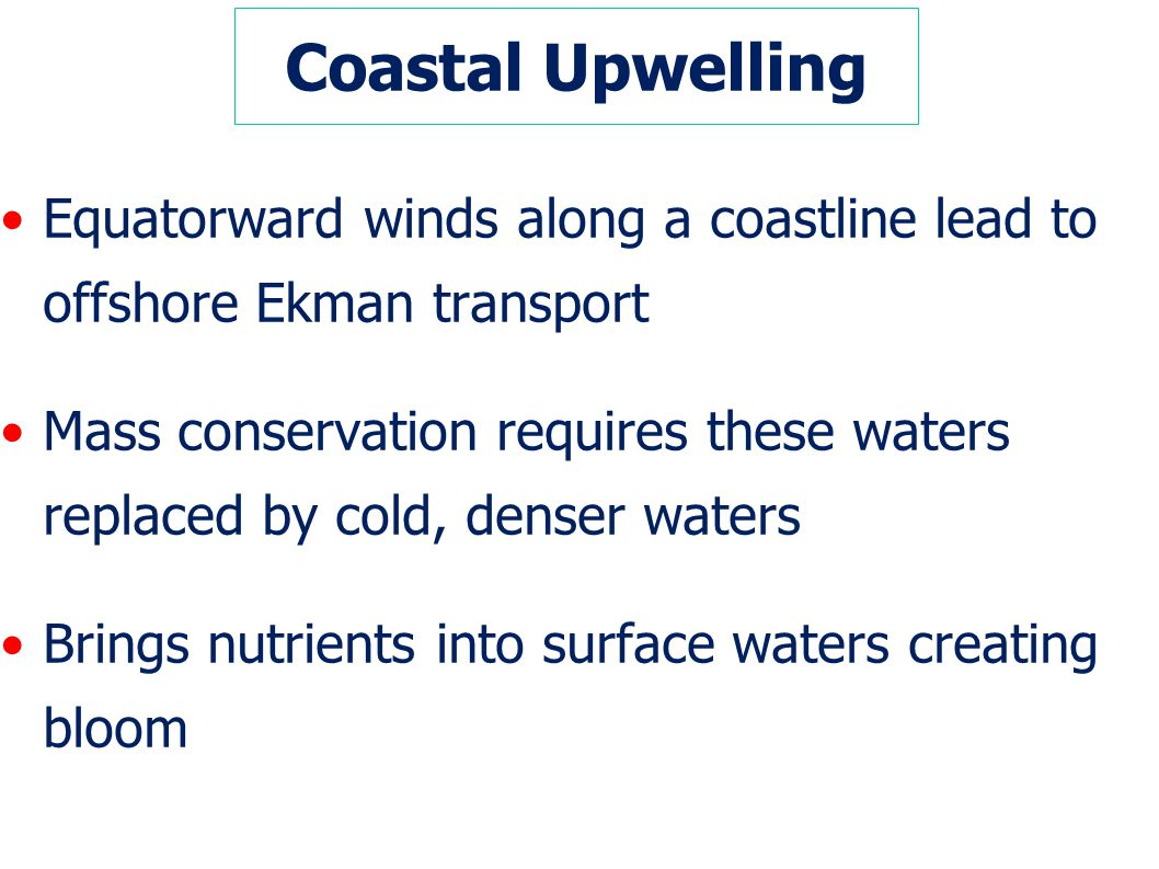 Coastal Upwelling Equatorward winds along a coastline lead to offshore Ekman transport.