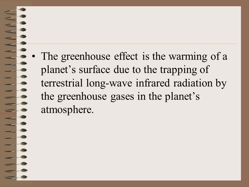 The greenhouse effect is the warming of a planet's surface due to the trapping of terrestrial long-wave infrared radiation by the greenhouse gases in the planet's atmosphere.