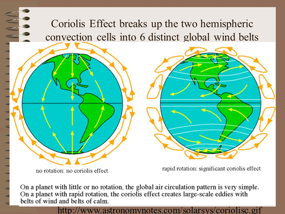 Coriolis Effect breaks up the two hemispheric convection cells into 6 distinct global wind belts