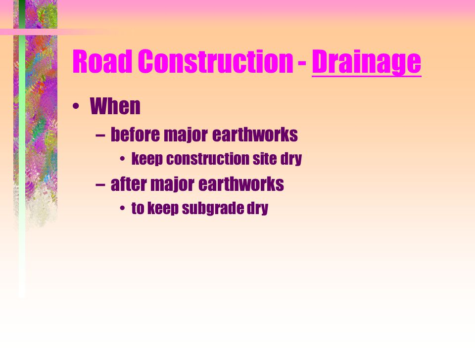 Road Construction - Drainage