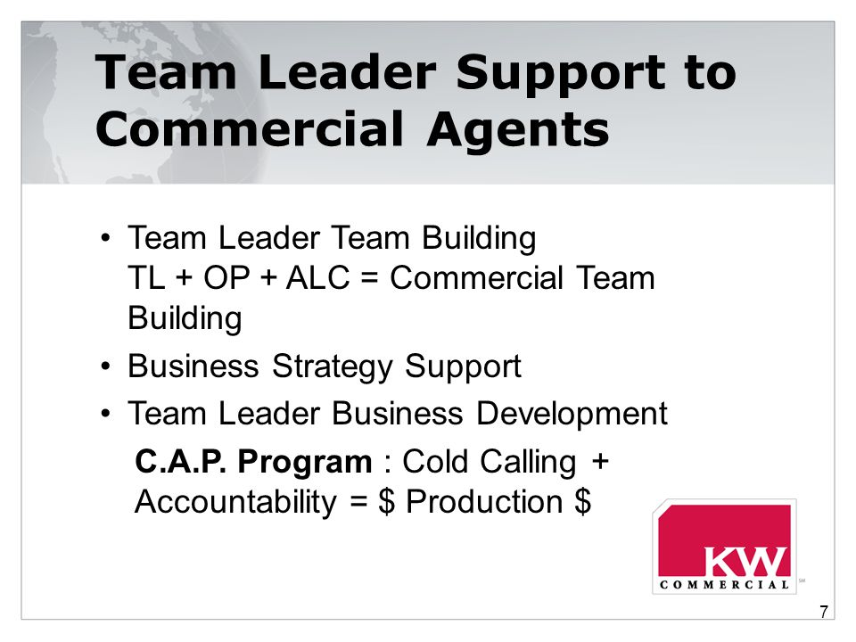 Team Leader Support to Commercial Agents