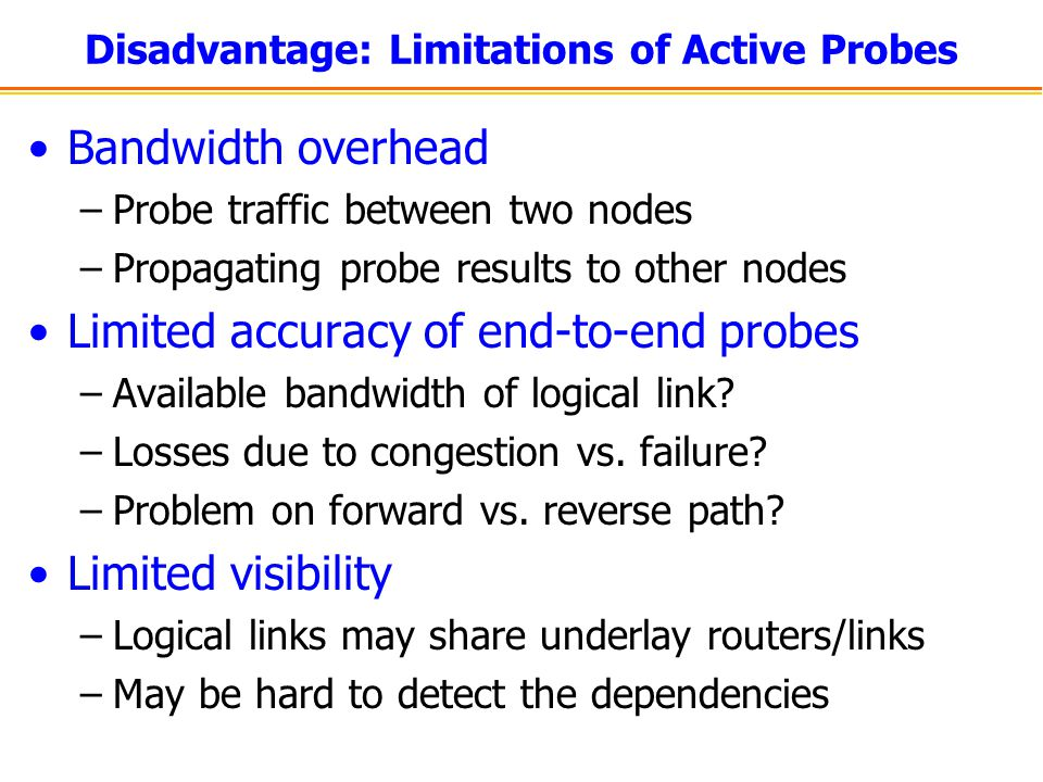 Disadvantage: Limitations of Active Probes
