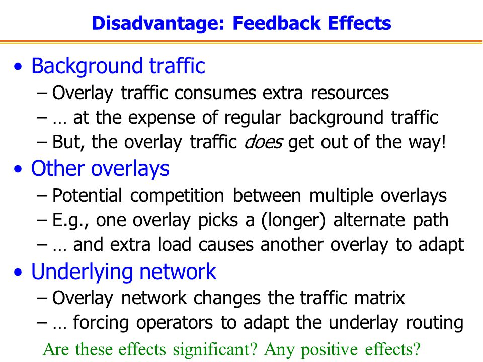 Disadvantage: Feedback Effects