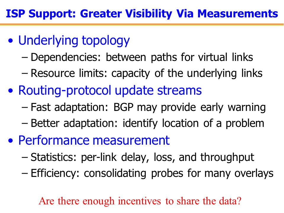 ISP Support: Greater Visibility Via Measurements