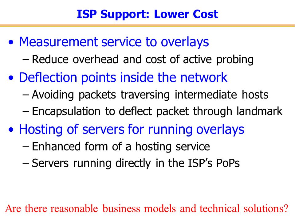 ISP Support: Lower Cost