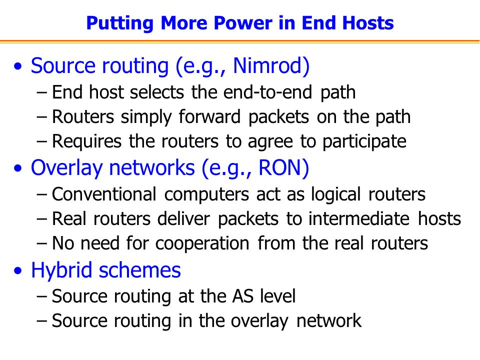 Putting More Power in End Hosts