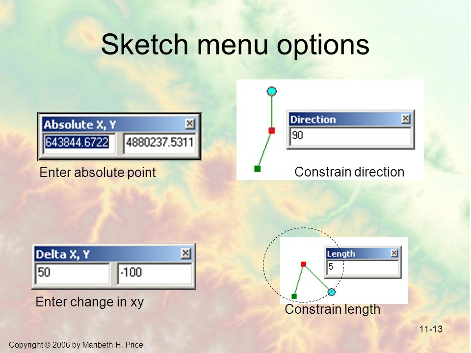 Sketch menu options Enter absolute point Constrain direction