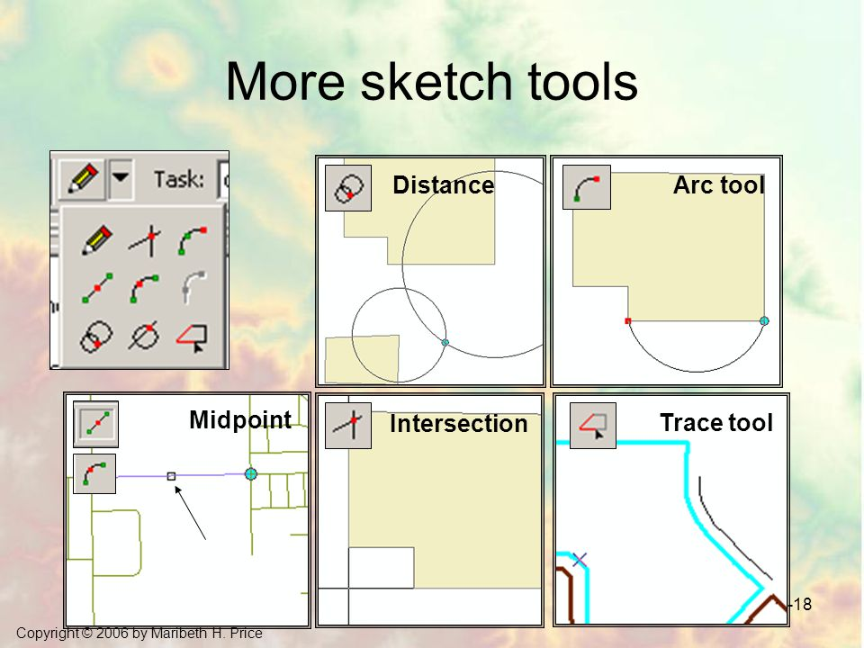 More sketch tools Distance Arc tool Midpoint Intersection Trace tool
