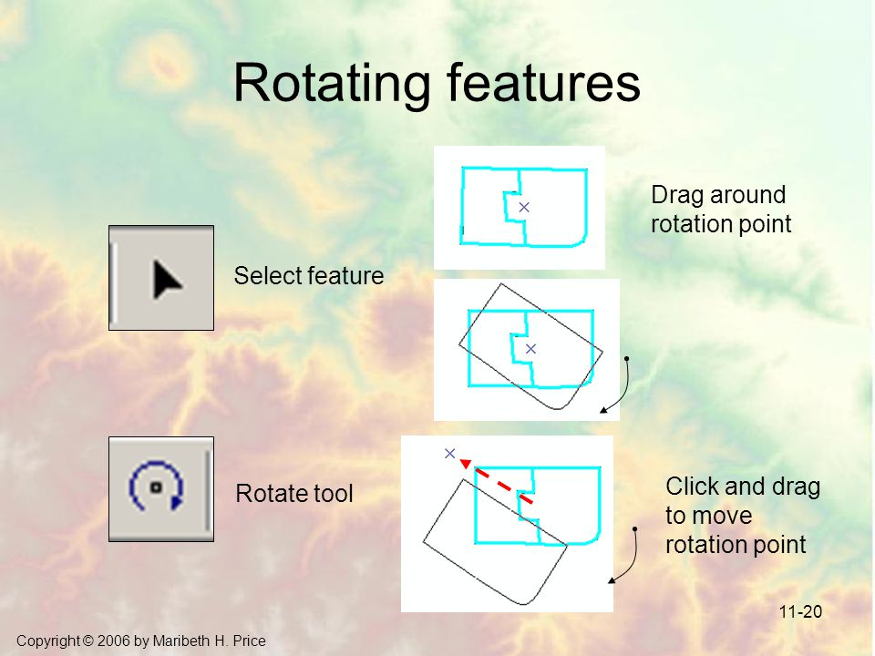 Rotating features Drag around rotation point Select feature