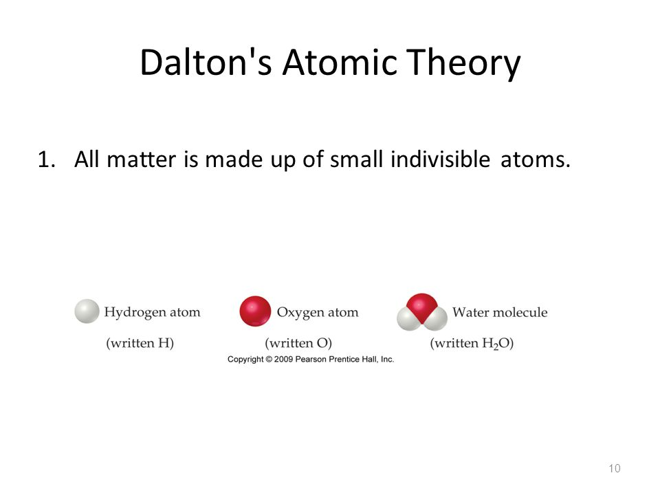 Dalton s Atomic Theory All matter is made up of small indivisible atoms.