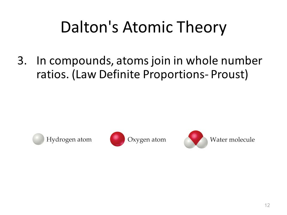 Dalton s Atomic Theory 3. In compounds, atoms join in whole number ratios.