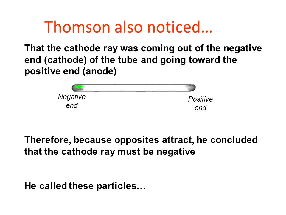 Thomson also noticed… That the cathode ray was coming out of the negative end (cathode) of the tube and going toward the positive end (anode)