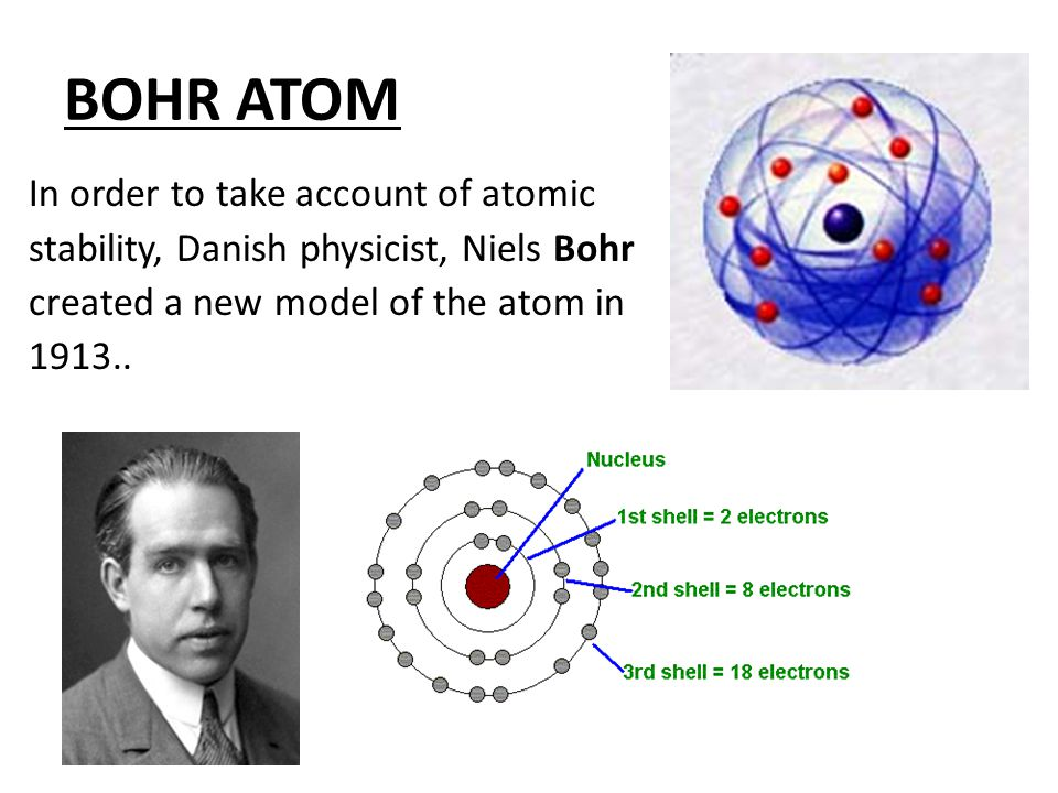 BOHR ATOM In order to take account of atomic stability, Danish physicist, Niels Bohr created a new model of the atom in 1913..