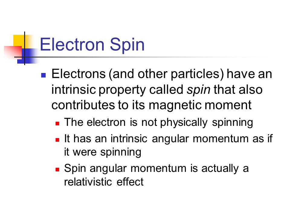 Electron Spin Electrons (and other particles) have an intrinsic property called spin that also contributes to its magnetic moment.