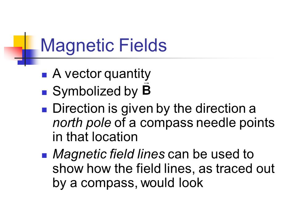 Magnetic Fields A vector quantity Symbolized by