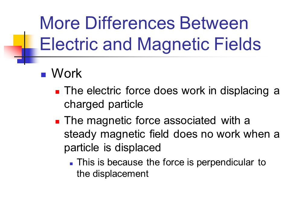 More Differences Between Electric and Magnetic Fields