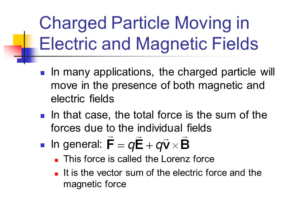 Charged Particle Moving in Electric and Magnetic Fields