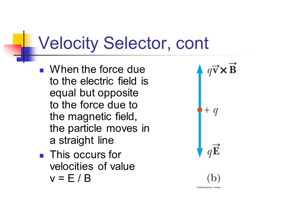 Velocity Selector, cont