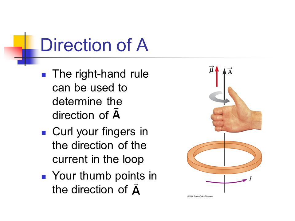 Direction of A The right-hand rule can be used to determine the direction of. Curl your fingers in the direction of the current in the loop.