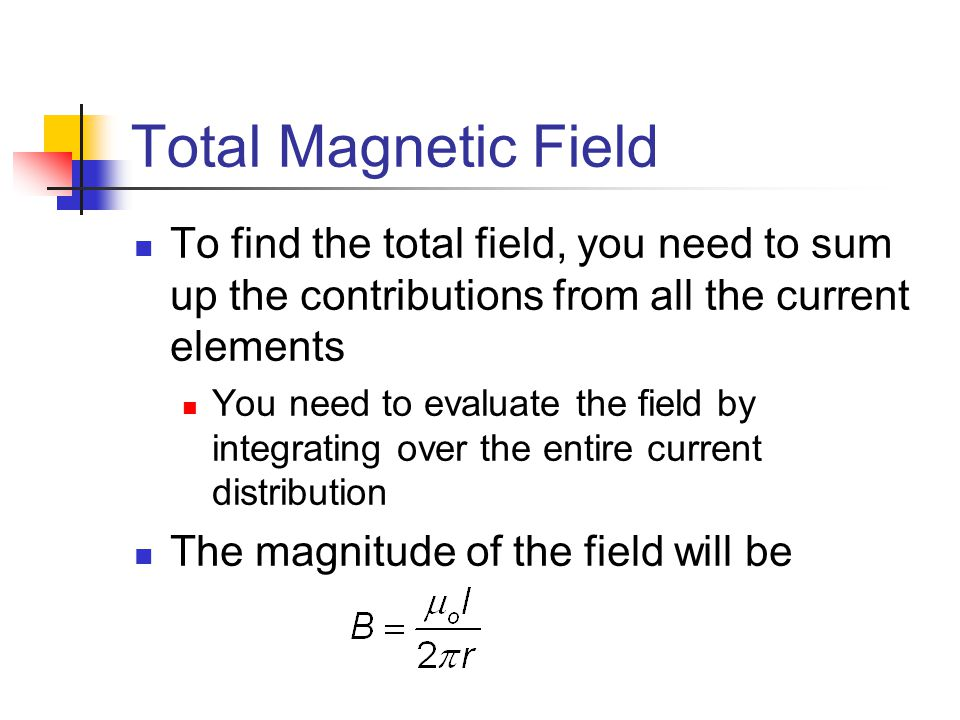 Total Magnetic Field To find the total field, you need to sum up the contributions from all the current elements.