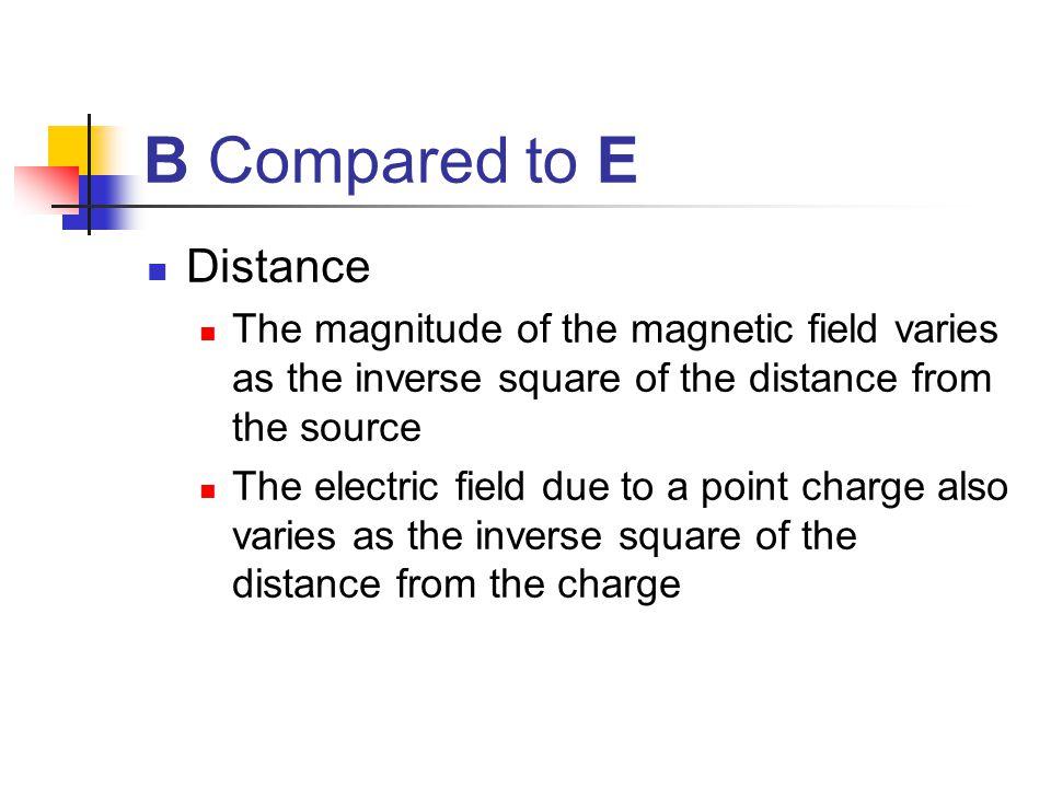 B Compared to E Distance