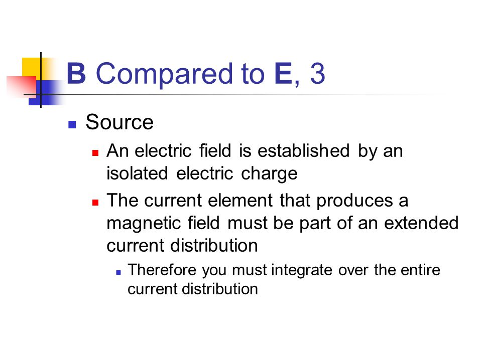 B Compared to E, 3 Source. An electric field is established by an isolated electric charge.