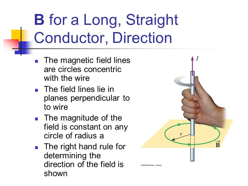 B for a Long, Straight Conductor, Direction