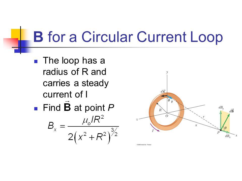 B for a Circular Current Loop