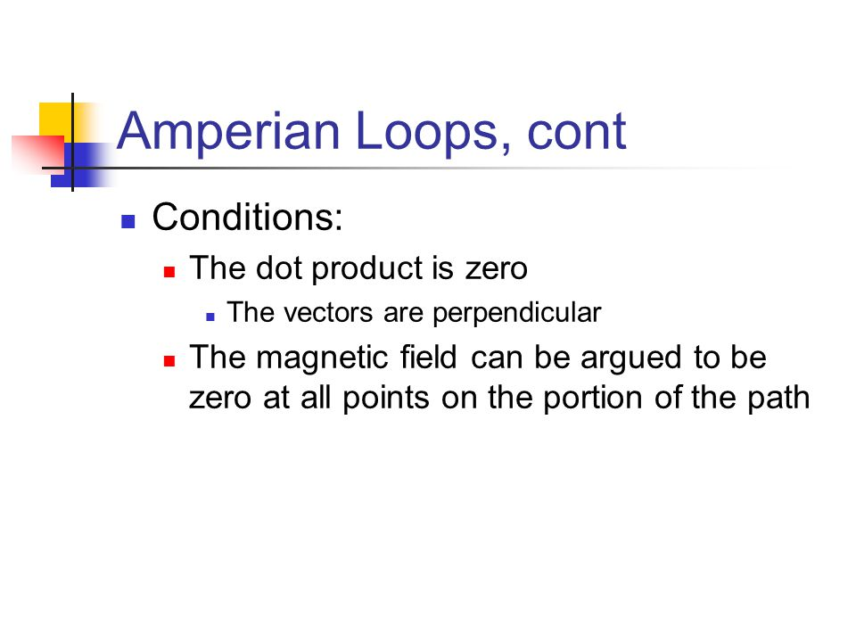 Amperian Loops, cont Conditions: The dot product is zero