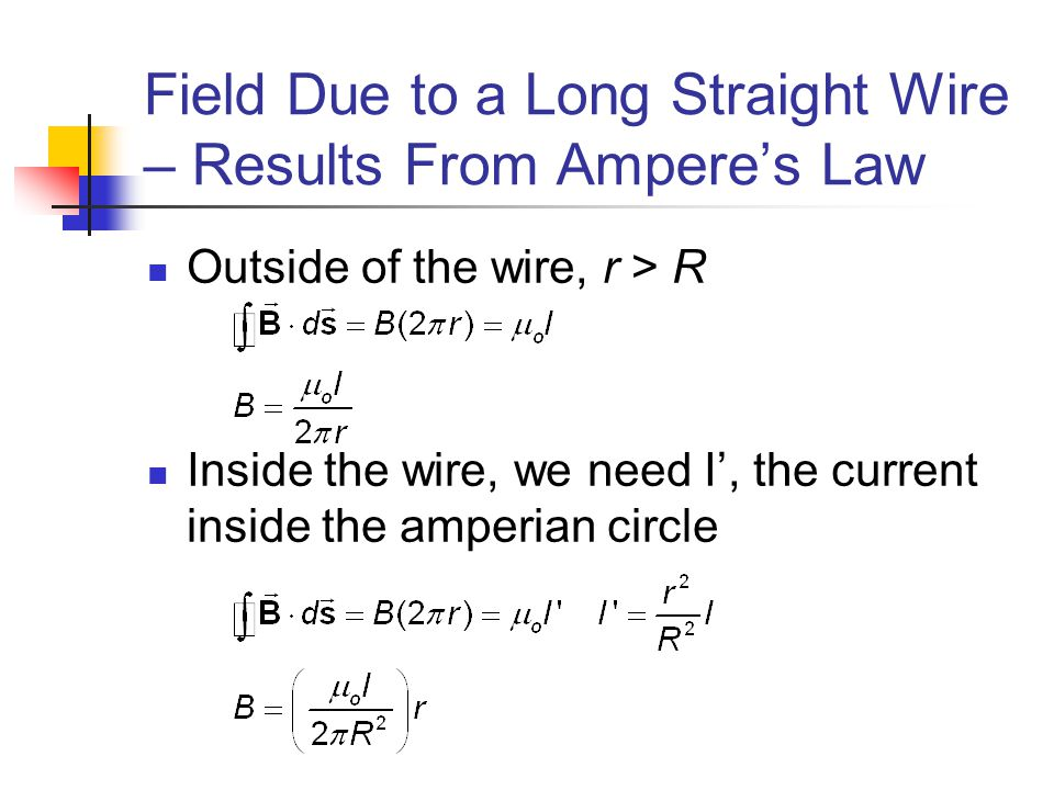 Field Due to a Long Straight Wire – Results From Ampere's Law