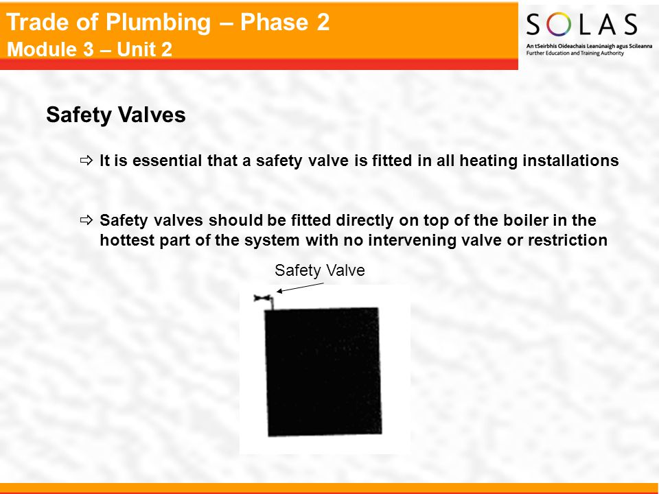 Safety Valves It is essential that a safety valve is fitted in all heating installations.