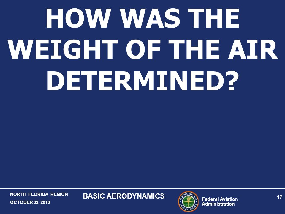 HOW WAS THE WEIGHT OF THE AIR DETERMINED