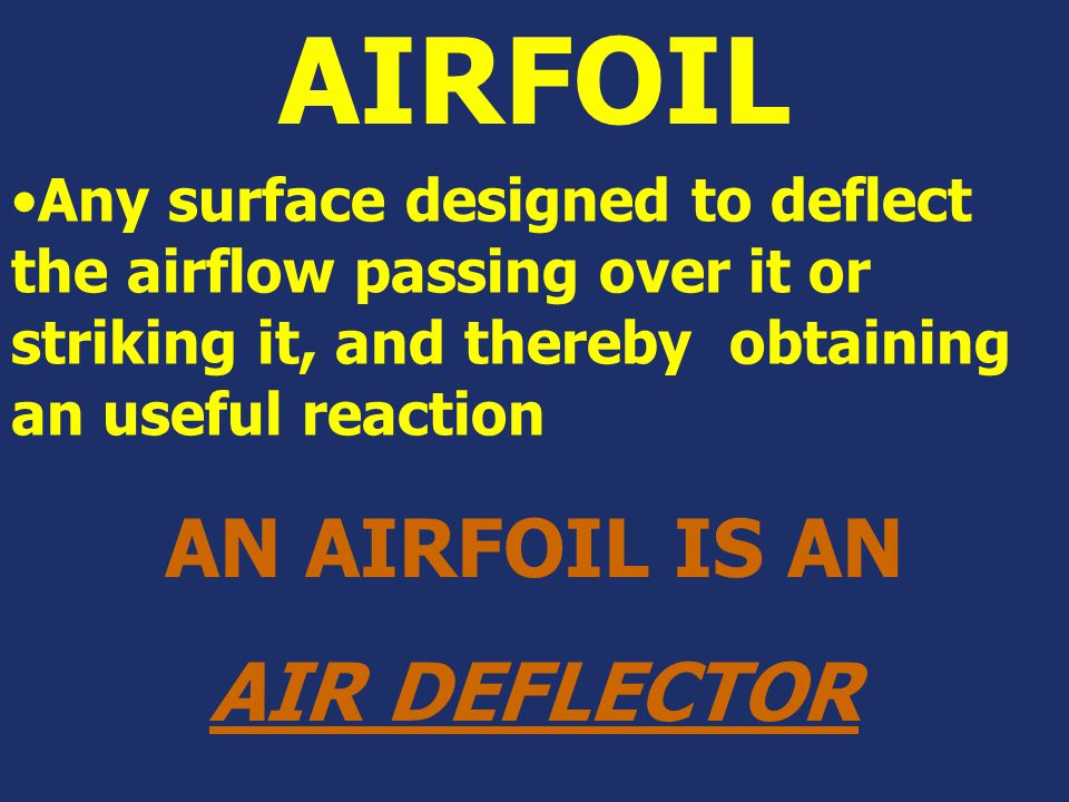 AIRFOIL AN AIRFOIL IS AN AIR DEFLECTOR