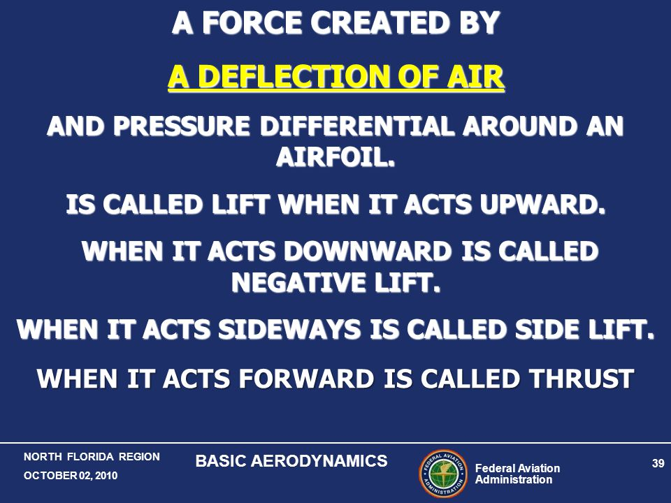A FORCE CREATED BY A DEFLECTION OF AIR