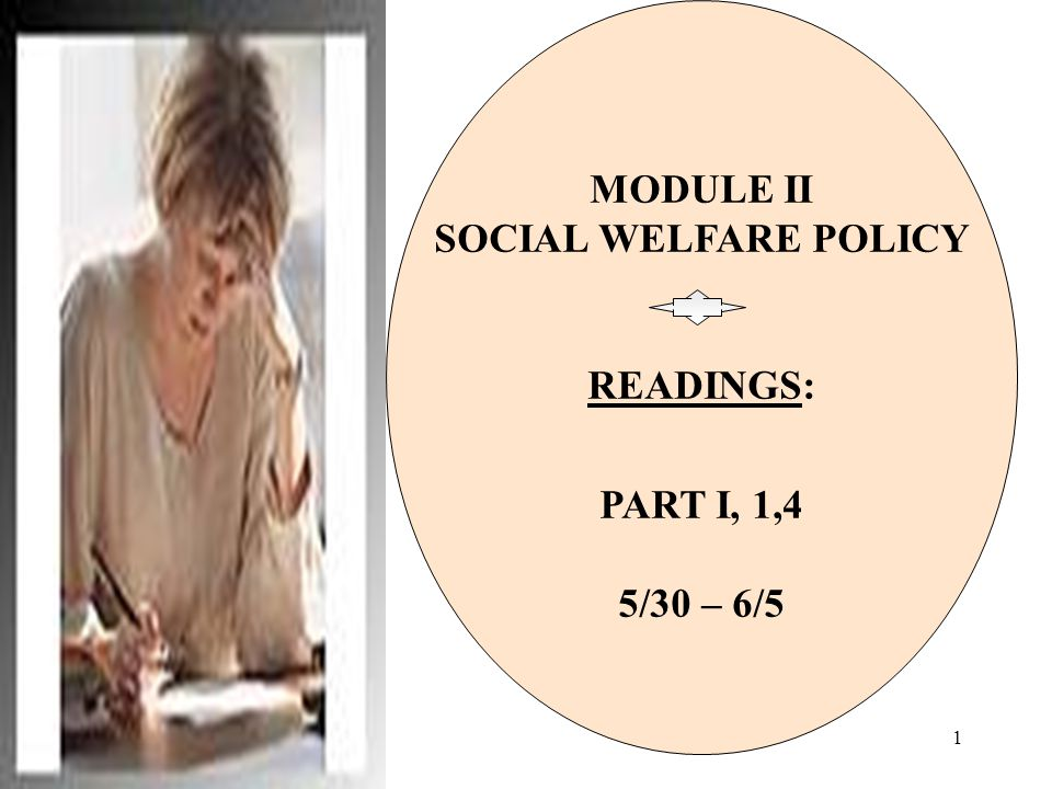 MODULE II SOCIAL WELFARE POLICY READINGS: PART I, 1,4 5/30 – 6/5