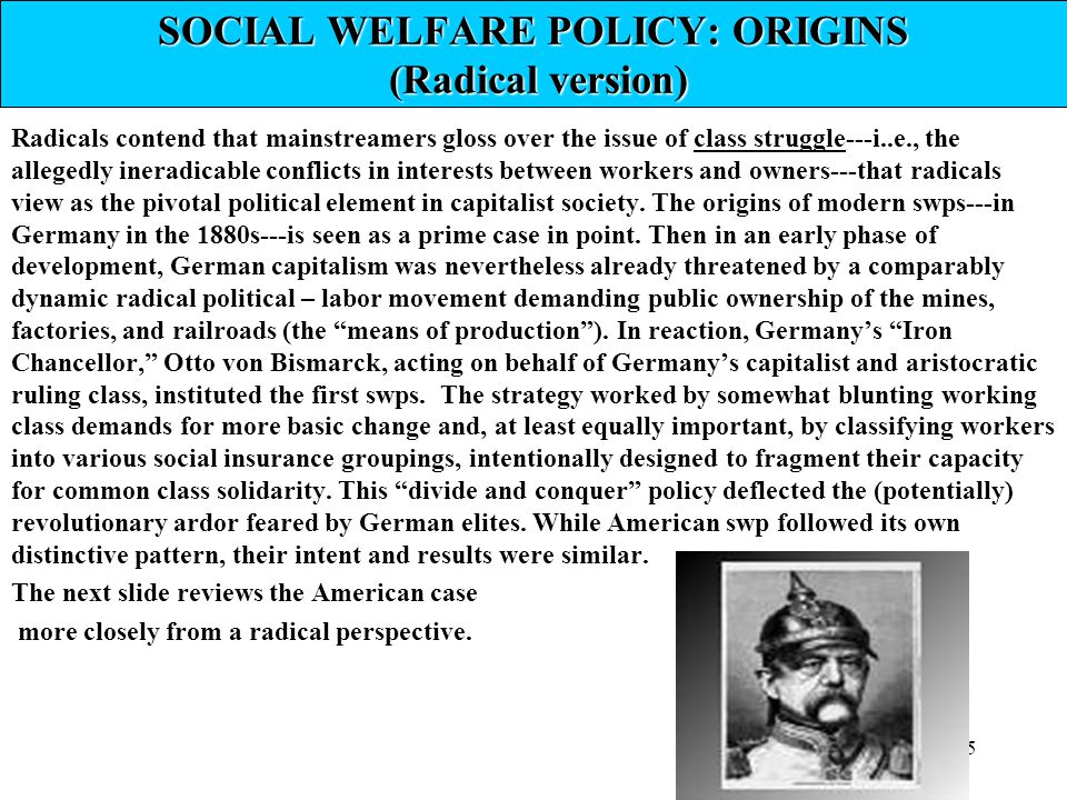 SOCIAL WELFARE POLICY: ORIGINS (Radical version)