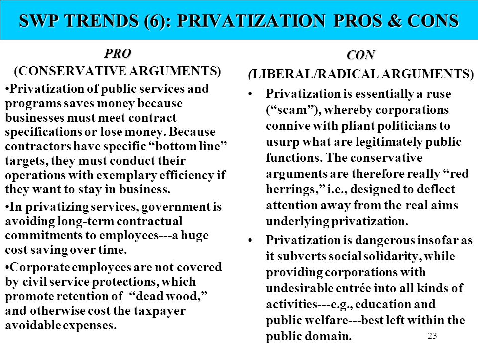 SWP TRENDS (6): PRIVATIZATION PROS & CONS
