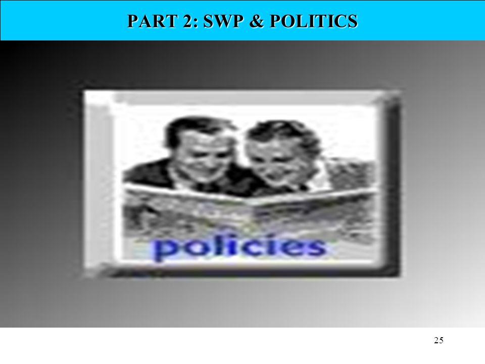 PART 2: SWP & POLITICS