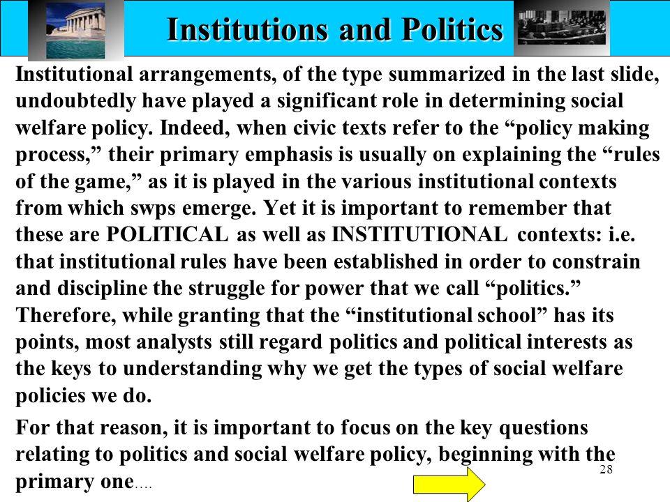 Institutions and Politics