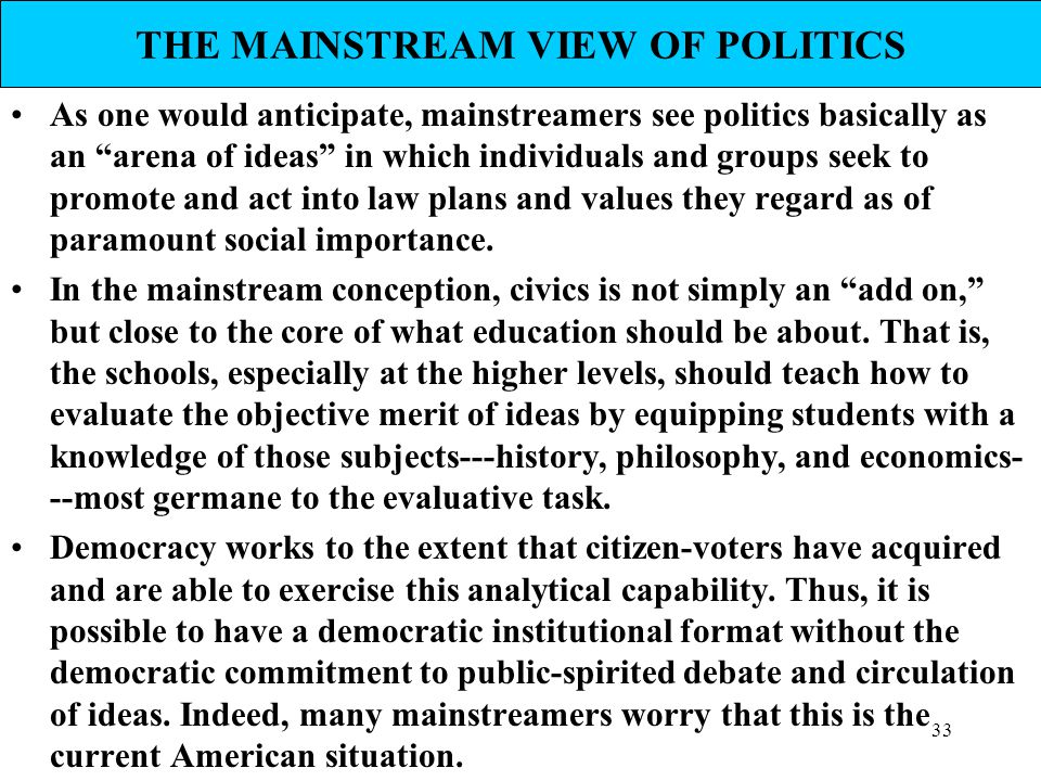 THE MAINSTREAM VIEW OF POLITICS