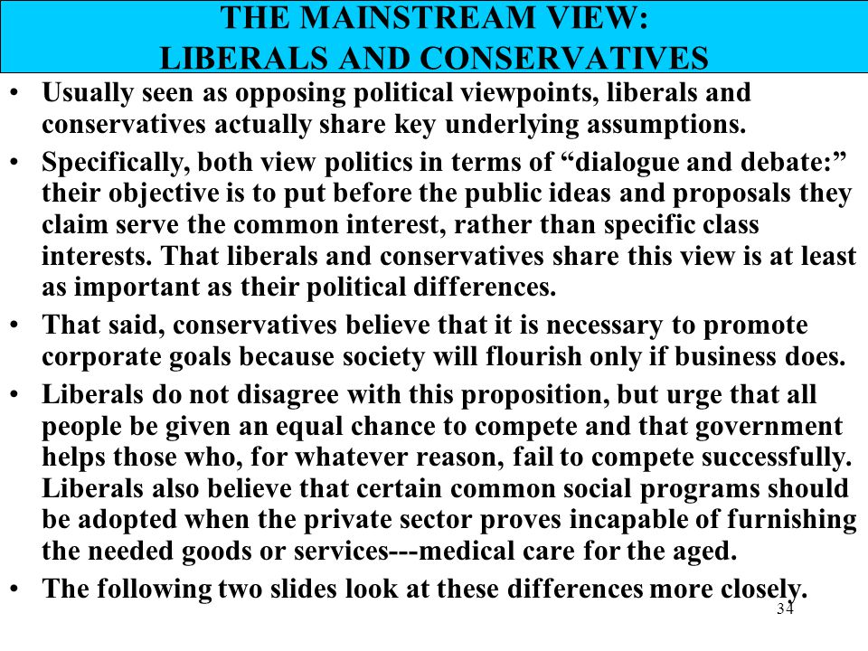 THE MAINSTREAM VIEW: LIBERALS AND CONSERVATIVES