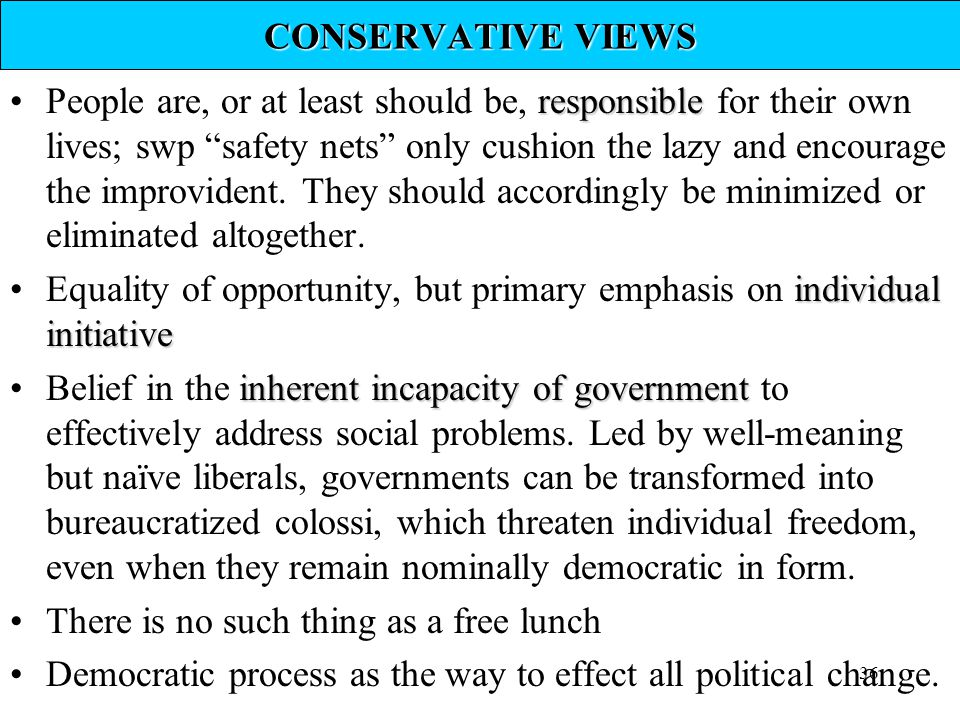 CONSERVATIVE VIEWS