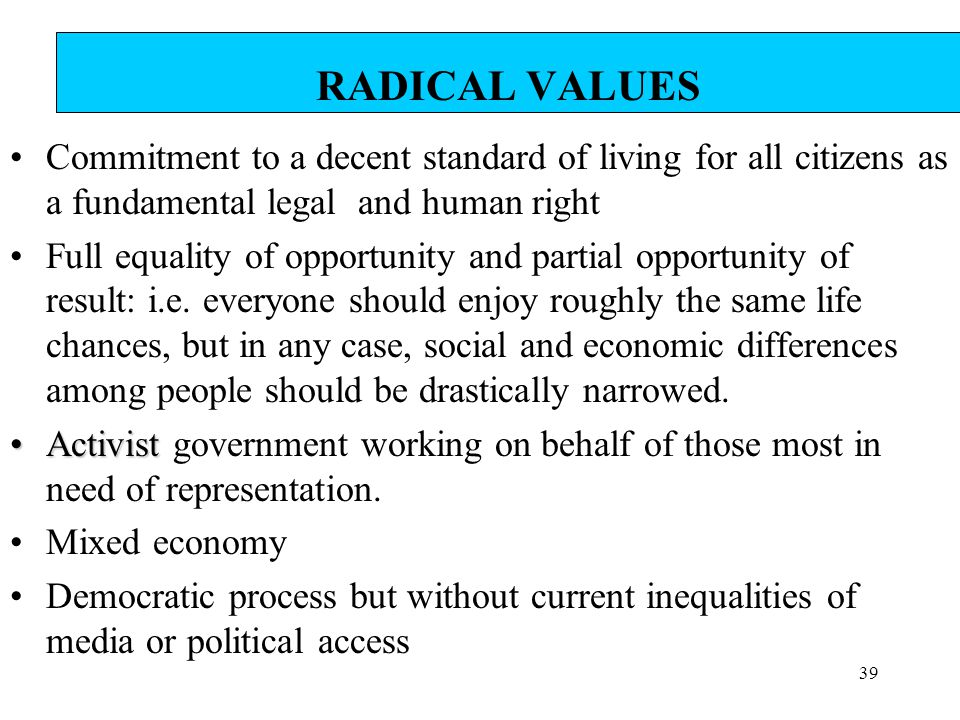 RADICAL VALUES Commitment to a decent standard of living for all citizens as a fundamental legal and human right.