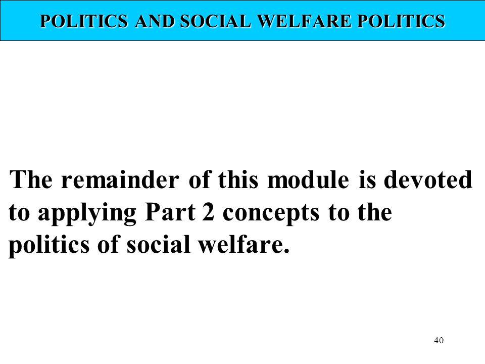 POLITICS AND SOCIAL WELFARE POLITICS