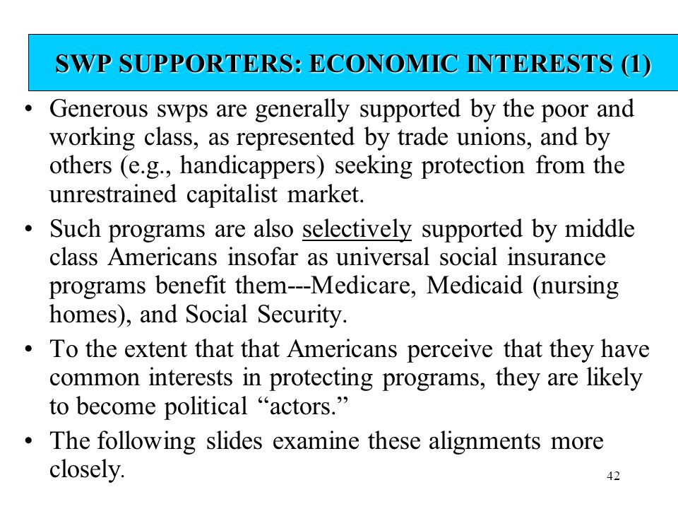 SWP SUPPORTERS: ECONOMIC INTERESTS (1)