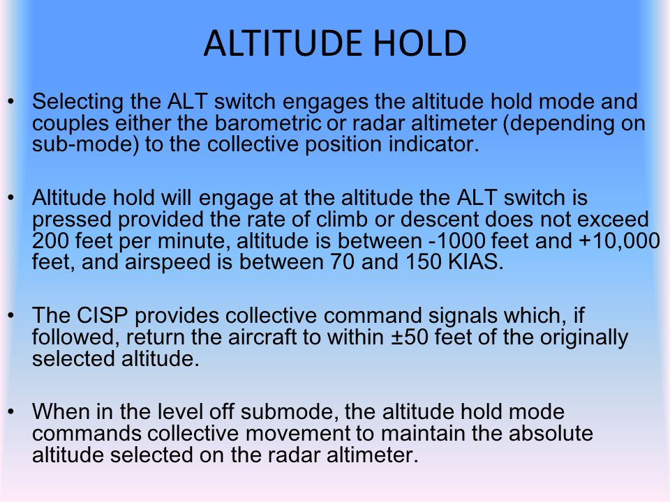 ALTITUDE HOLD