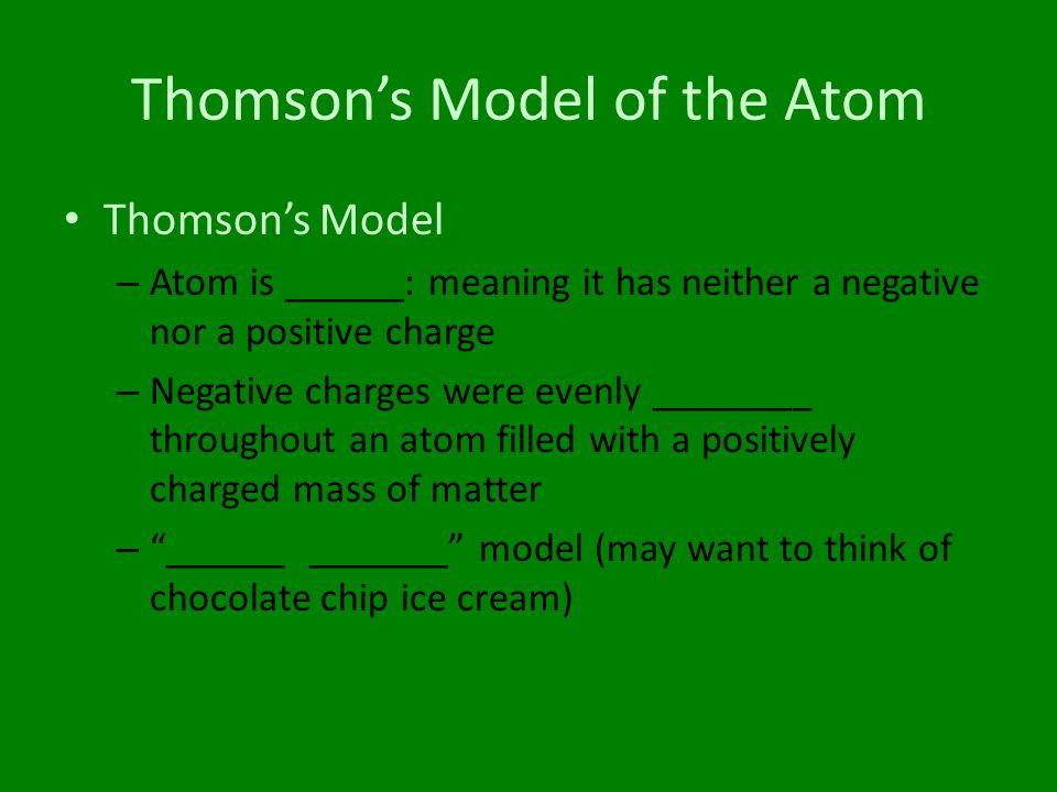 Thomson's Model of the Atom