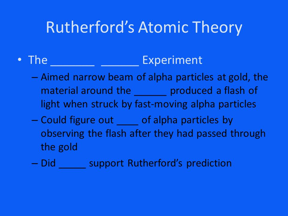 Rutherford's Atomic Theory