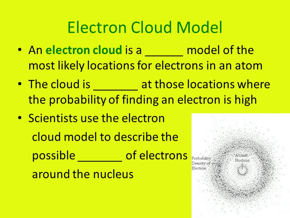 Electron Cloud Model An electron cloud is a ______ model of the most likely locations for electrons in an atom.