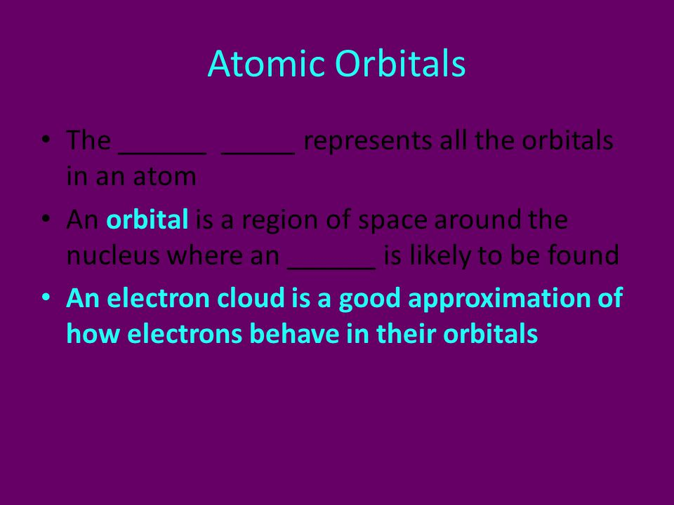 Atomic Orbitals The ______ _____ represents all the orbitals in an atom.